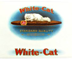 Excellent 1920's Vintage Lithograph White Cat Cigar Box Label. Perfect for framing.