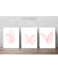Baby Pink Butterfly Paintings Set of 3 by ColorWatercolor on Etsy