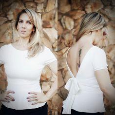 Blusa Peplum off white com detalhe laço e decote costas.  #blusas #talgui #talguistore #moda #model #modaparameninas #modaparamulheres #itgirls #ootd #santóllomodas #styles #fashion #look #girls