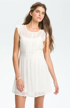 Frenchi® Pintuck Lace Dress (Juniors) available at #Nordstrom #feminine
