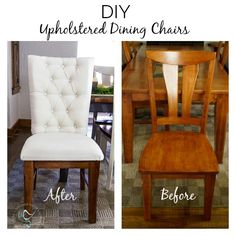 Upholstered Wood Dining Chairs DIY-Polster-Holz-Esszimmerstühle-after-makeover Related posts: Cool furniture crayon dining table Dining Chair Makeover, Furniture Makeover, Wooden Chair Makeover, Kitchen Chair Redo, Diy Kitchen, Painting Kitchen Chairs, Refinishing Kitchen Tables, Painted Kitchen Tables, Kitchen Table Makeover