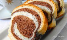 Csíkos kalács recept Hungarian Recipes, Hungarian Food, Bagel, Doughnut, Baked Potato, Cake Recipes, Food And Drink, Bread, Baking