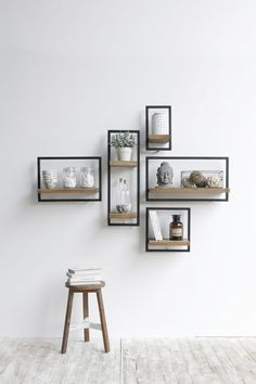 Old wood Now available - Mobel Diy - Wohnen - Shelves in Bedroom Living Room Decor, Bedroom Decor, Decor Room, Bedroom Wall, Kids Bedroom, Bedroom Ideas, Diy Wand, Sustainable Furniture, Diy Wall Decor