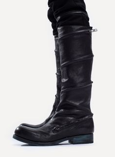 Boot by Obscur HV13-43 Spiral Zip Boot in BLACK