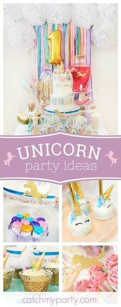 Don't miss this wonderful Unicorn birthday party! The dessert table is adorable!! See more party ideas and share yours at CatchMyParty.com