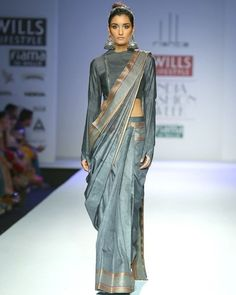 Arjun Saluja Autumn Winter 2014 at Wills Lifestyle India Fashion Week Delhi Saree Draping Styles, Saree Styles, Indian Attire, Indian Wear, Ethnic Fashion, Asian Fashion, Grey Fashion, Latest Fashion, Fashion Trends