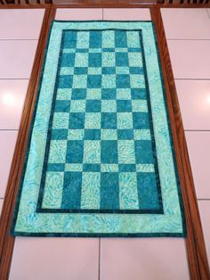 Quilted batik table runner teal Quilts For Sale, Custom Quilts, Table Runners, Collaboration, Cotton Fabric, Teal, Boutique, Board, How To Make
