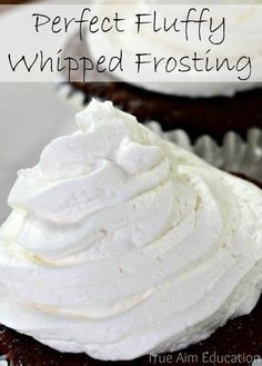 The Perfect Whipped Cream Frosting. Not too sweet and it doesn't melt or separate!