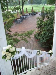 Wedding Roses Michigan wedding outdoor decor staircase flowers ivory roses at barton hills country club - Wedding Staircase Decoration, Wedding Stairs, Church Wedding Decorations, Wedding Church, Flower Decorations, Wedding Arch Tulle, Wedding Flowers, Outdoor Stairs, Porch Stairs