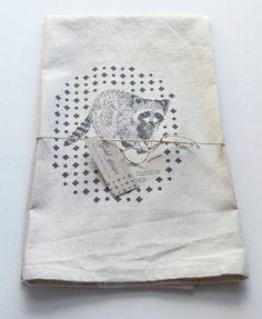 Raccoon screen printed cotton and linen blend tea towel Collaborative Art, Made Goods, Tea Towels, Printed Cotton, Screen Printing, Textiles, Prints, Projects, Gold