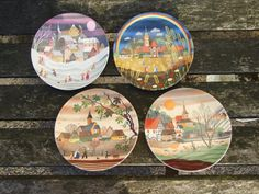 Poole pottery plates, Spring, Summer, Autumn, Winter, The four seasons, Unique Wall Art