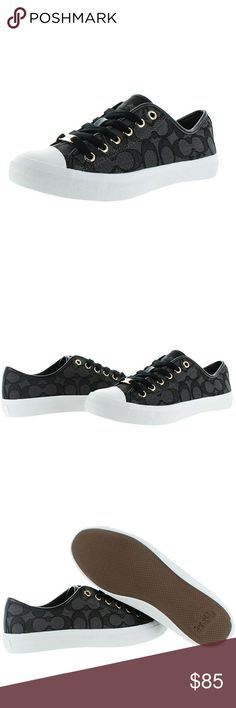 New! COACH Empire Signature Logo Sneakers Low Top A sophisticated take on a sporty style, the Empire Sneaker is updated with the graphic look of Coach outline Cs in signature canvas, and accented with gleaming custom hardware and nappa leather trim.  Brand New With Box!   Color: Black/Smoke/Black  Signature C Outline fabric with nappa leather trim  1 inch chunky heel  Rubber sole Coach Shoes Sneakers
