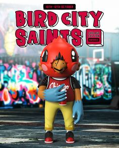 "Sentrock's Bird City Saints is back in a new colourway! The 8"" tall vinyl art toy from the rising artisit is available for order now, and orders will close on 12 Oct. Be sure to get your hands on the highly sought after piece! Hit the link to order now! Vinyl Toys, Vinyl Art, Custom Vinyl, Designer Toys, Resin Art, Saints, Chicago, Birds, Link"