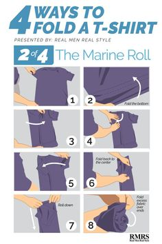 Folding T-Shirts – Method The Marine Roll (Army Roll) men T-shirt T Shirt Folding, Folding Jeans, Folding Socks, How To Fold Shorts, Real Men Real Style, Space Outfit, Clothing Hacks, Packing Tips For Travel, Travel Bags