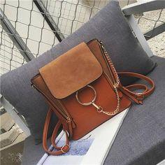 Double Zipper Chain Ring Shoulder Crossbody Bags For Women Vintage Nubuck Leather Bags Women Handbags Famous Brands Female Bag