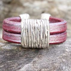 Olivia | Wristicuffs Handmade European leather wide cuff with striped accents.  Custom made to order from a large color selection.  #handmade #leather #cuff #stripes #silver #bracelets #armcandy #wristicuffs Women's Bracelets, Silver Bracelets, Handmade Leather, Stripes, Color, Jewelry, Style, Fashion, Silver Cuff Bracelets