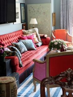 Bilhuber's rooms are not afraid of color and not stuffy, no matter how rich the client.
