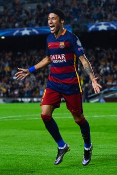 Neymar of FC Barcelona celebrates after scoring his team's third goal during the UEFA Champions League Group E match between FC Barcelona and FC BATE Borisov at the Camp Nou on November 4, 2015 in Barcelona, Catalonia.