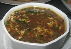 Popular street food in China - Manchow soup is easy to prepare and has a very hot spicy taste.