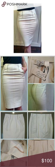 """Byron Lars White Rubber Pocket Pencil Skirt Byron Lars white pencil skirt. Side pockets with rubber framing. Pockets are functional. Stitching up the sides that allows for some transparency. Flesh colored material covers stitching half way down, so there is a little leg shown. Zips up back. Looks amazing with nude pumps and a light colored blouse for a Sunday brunch.  New with tags. Faint dust markings from storage.  Measurements taken laying flat: Waist: 13.5"""" Hips"""" 16.5"""" Length: 23.5""""…"""