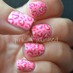 Pink Leopard Print Hearts - Valentine's Day Nails