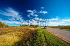 Picture of autumn landscape - road between fields stock photo, images and stock photography. The Locals, Blossoms, Poem, Lightning, Fields, Rabbit, Country Roads, Journey, Autumn