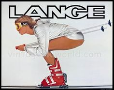 Classic Lange Ski boot poster - A la bathroom at Hickory & Tweed