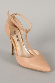 Anne Michelle Momentum-40 Leatherette T-Strap Pointy Toe Pump