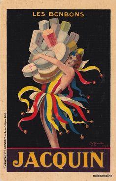 Old postcard, Cappiello sign. 1930 Advertising Jacquin Les Bonbons #millecartoline