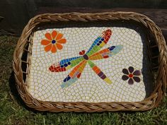 Colorful dragonfly with flowers on a white background b Mosaic Tray, Mosaic Tiles, Mosaic Designs, Mosaic Patterns, Dragonfly Wall Art, Mosaic Stepping Stones, Mosaic Animals, Mosaic Madness, Horseshoe Art