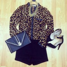#leopard #top #gold #accessories #black #shorts