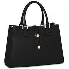 CASPAR Damen klassische Ledertasche   Handtasche   Businesstasche in edlem Design MADE IN ITALY - viele Farben - TL667, Farbe:schwarz