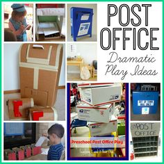 Post Office Dramatic Play activity with free printable postcards. Dramatic Play Themes, Dramatic Play Area, Dramatic Play Centers, Play Based Learning, Early Learning, Play Corner, Prop Box, Community Helpers Preschool, Play Centre