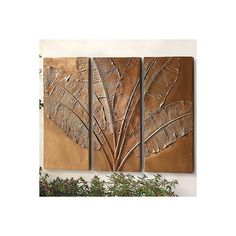 Banana Leaf Triptych ($499) ❤ liked on Polyvore featuring home, outdoors, outdoor decor, outdoor enhancements, outdoor wall decor, frontgate, outdoor panels, textured wall panels, outdoor patio decor and outdoor wall panels