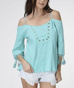 Another great find on #zulily! Mint Fringe Off-Shoulder Top by Oh My Julian #zulilyfinds