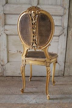 Century Louis XV Style Cane and Carved Giltwood French Chair from Full Bloom Cottage Cane Furniture, French Furniture, Home Decor Furniture, Shabby Chic Furniture, Shabby Chic Decor, Antique Furniture, Furniture Ads, Furniture Online, Discount Furniture