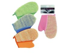 """Sisal Bath Glove, 72 - Great for everyday exfoliating, this Sisal Bath Glove helps to promote a full lather and ensures healthy, vibrant skin. Large mitt covers hand and features woven sisal scrubbing power on one side and a soft terry side on the other. Measures approximately 8.5"""" x 7"""". Comes in assorted colors. Comes packaged in a poly bag with a header card.-Colors: white,green,blue,pink,beige. Material: synthetic,foam,natural. Weight: 0.3612/unit"""