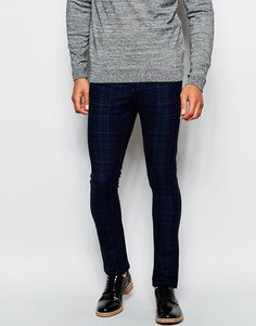 $45, Asos Brand Super Skinny Pants In Check. Sold by Asos. Click for more info: https://lookastic.com/men/shop_items/332301/redirect