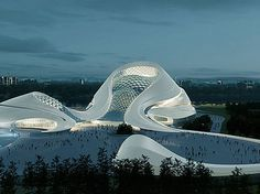MAD Architects, Mountainous Cultural Island In China, A NEW OPERA HOUSE AND CULTURAL CENTER IN NORTHEASTERN CHINA TAKES ITS INSPIRATION FROM THE ICY WEATHER.