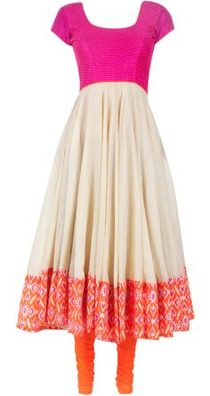 Beige anarkali with orange churidaar and dupatta available only at Pernia's Pop-Up Shop.
