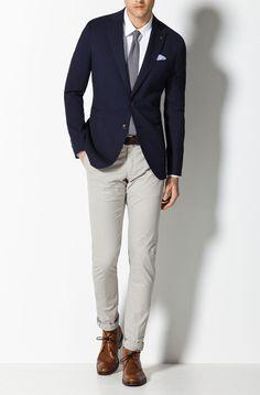 navy jacket, light gray chino