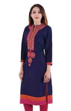LadyIndia.com # Kurtas, Beautiful Trendy Embriodered Rayon Blue Kurti for Women, Kurtis, Kurtas, Cotton Kurti, https://ladyindia.com/collections/ethnic-wear/products/beautiful-trendy-embriodered-rayon-blue-kurti-for-women