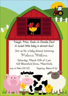 Baby Shower Invitations-Country Farm BSI182 - Bella Chi Cards & Favors