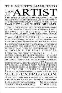 Sandra Belegi's Artist's Manifesto, found at www.theartofgreatness.com