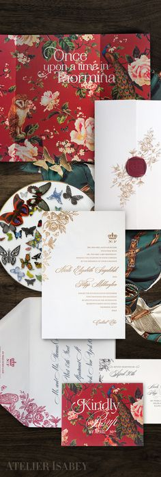 A fairytale wedding invitation suite inspired by Dolce and Gabbana and Italian tapestry for a destination wedding in Taormina, Sicily. by Atelier Isabey Fairytale Wedding Invitations, Inexpensive Wedding Invitations, Creative Wedding Invitations, Fairytale Weddings, Floral Wedding Invitations, Wedding Stationery, Garden Weddings, Stationery Design, Destination Weddings
