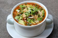 Tortilla soup. Have been wanting to find a version that is more broth based and with a lot of lime, like the best-ever tortilla soup I had in Antwerp, of all places! Looks like this may come close.