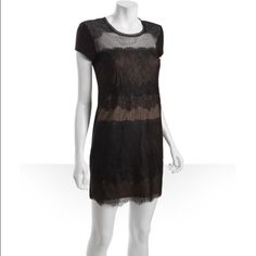 BCBG Stretch Jersey Knit Lace Front Dress Cap sleeves, flat front, back lace inset, lined. Lightweight stretch jersey knit. Rounded neck.  Size S measures approximately 19'' long from natural waist. 95% rayon, 5% spandex. Dry clean. Color: Black / Nude. BCBG Dresses
