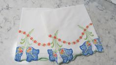VINTAGE Pair Pillowcase with Large-Heavily Embroidered Blue Flowers by PrimaMona on Etsy