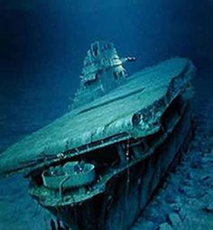 USS Yorktown (CV-5) hit on the opening day, 4 June, 1942, of the Battle of Midway, sank 3 days later. The wreck was discovered by Dr Robert Ballard (who also found the Titanic and the Bismarck) on 19 May, 1998.