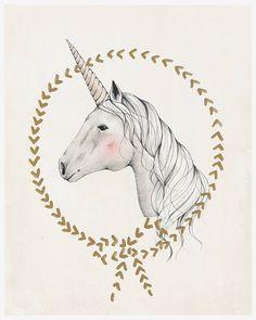 Unicornio impresión de arte 8 X 10 por KelliMurrayArt en Etsy